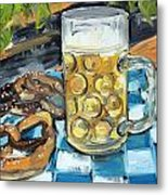 Beer And A Pretzel Metal Print