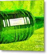Beer Bottle Laying Over Green Painting Metal Print