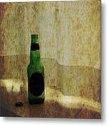 Beer Bottle On Windowsill Metal Print