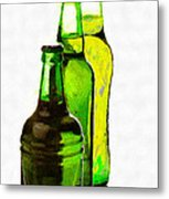 Beer Bottles Of Different Shapes Painting Metal Print