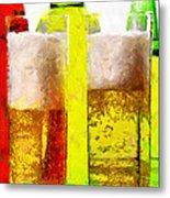 Beer Glasses Against Bottles Closeup Painting Metal Print