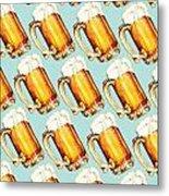 Beer Pattern Metal Print