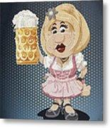Beer Stein Dirndl Oktoberfest Cartoon Woman Grunge Color Metal Print
