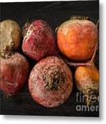 Beets In Different Colors On A Dark Background Metal Print