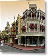Before The Gates Open Early Morning Magic Kingdom With Castle. Metal Print