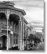 Before The Gates Open In Black And White Walt Disney World Metal Print