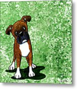 Befuddled Brindle Boxer Metal Print