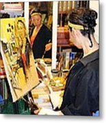 Behind The Scenes - Painting Self Portraits Metal Print by Becky Kim