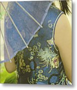 Behind The Umbrella Metal Print