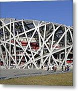 Beijing National Stadium - Site Of 2008 Olympic Games Metal Print by Brendan Reals
