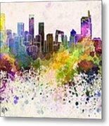 Beijing Skyline In Watercolor Background Metal Print by Pablo Romero