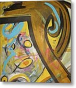 Being Easy Original Abstract Colorful Figure Painting For Sale Yellow Umber Blue Pink Metal Print