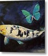 Bekko Koi And Butterfly Metal Print by Michael Creese
