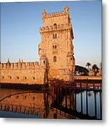 Belem Tower At Sunrise In Lisbon Metal Print