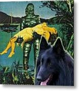 Belgian Shepherd Art Canvas Print - Creature From The Black Lagoon Movie Poster Metal Print