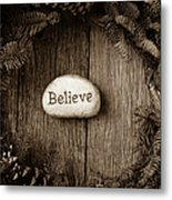 Believe In Text In The Center Of A Christmas Wreath Metal Print