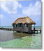 Belize Pier And Seascape Metal Print