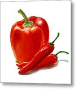 Bell Pepper With Chili Peppers Metal Print