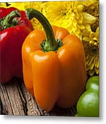 Bell Peppers And Poms Metal Print