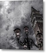Bell Tower And Street Lamp Metal Print
