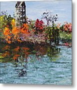 Bell Tower At The Botanic Gardens In Autumn Metal Print
