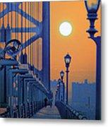 Ben Franklin Bridge Walkway Metal Print