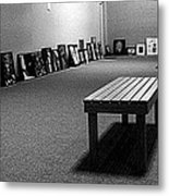 Bench Alone In Pre-show Gallery Metal Print
