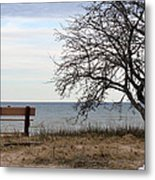 Bench And Beach Metal Print