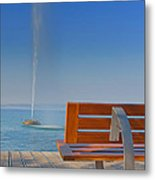 Bench And Fountain  Metal Print
