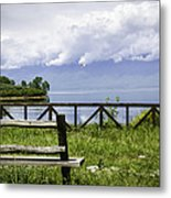 Bench By The Lake. Metal Print