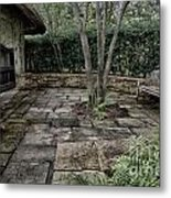 Bench In Lush Garden Metal Print