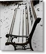 Bench In Snow Metal Print