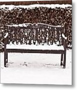 Bench In The Snow Metal Print