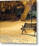 Bench In The Winter Park Metal Print