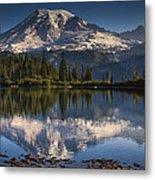 Bench Lake Sunrise Metal Print