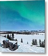 Bench Looking On Lake Laberge With Northern Lights Metal Print