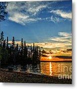 Beautiful Sunset At Waskesiu Lake Metal Print
