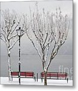 Bench On Lakefront In Winter Metal Print