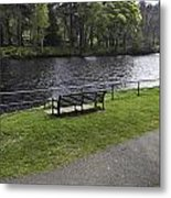 Bench On Shore Of River Ness In Inverness Metal Print