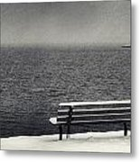 Bench On The Winter Shore Metal Print
