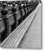 Bench Row Black And White Metal Print