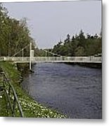 Benches And Suspension Bridge Over River Ness Metal Print