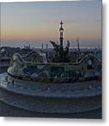 Benches At Parc Guell Metal Print