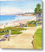 Benches At Powerhouse Beach Del Mar Metal Print by Mary Helmreich