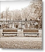 Benches By The Cemetery In Sepia Metal Print