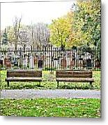Benches By The Cemetery Metal Print