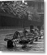 Benches In The Rain Bw Metal Print