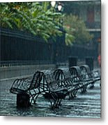 Benches In The Rain Metal Print