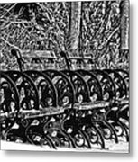Benches In The Snow - Bw Metal Print