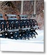 Benches In The Snow Metal Print